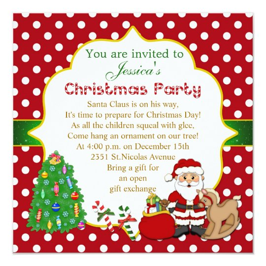 santa tree rocking horse kids christmas party invitation