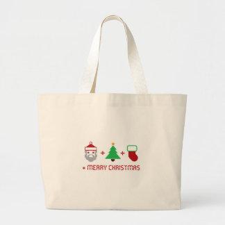 Santa + Tree + Stocking = Merry Christmas Canvas Bags