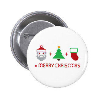 Santa + Tree + Stocking = Merry Christmas Pinback Button