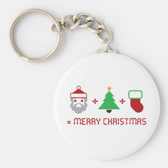 Santa + Tree + Stocking = Merry Christmas Keychain