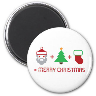 Santa + Tree + Stocking = Merry Christmas Refrigerator Magnet