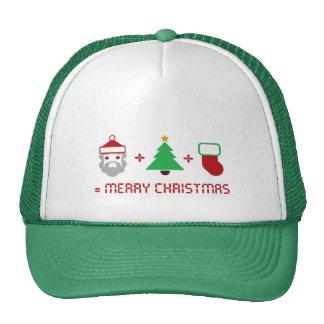 Santa + Tree + Stocking = Merry Christmas Mesh Hat