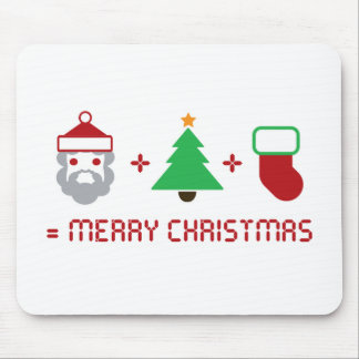 Santa + Tree + Stocking = Merry Christmas Mousepads