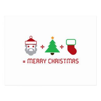 Santa + Tree + Stocking = Merry Christmas Postcards