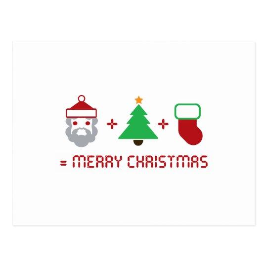Santa + Tree + Stocking = Merry Christmas Postcard