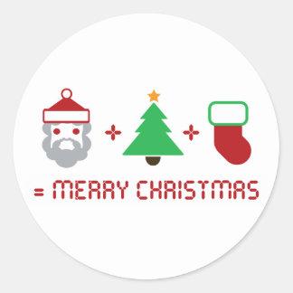 Santa + Tree + Stocking = Merry Christmas Sticker