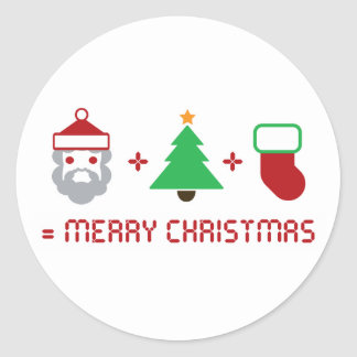 Santa + Tree + Stocking = Merry Christmas Stickers
