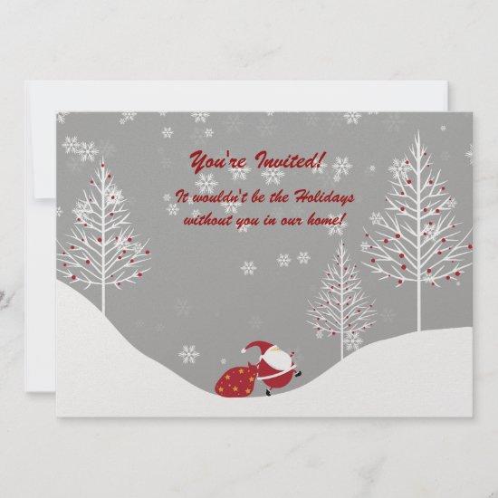 Santa Trees Winter Scene Holiday Party Invitations