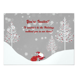 Santa Trees Winter Scene Holiday Party Invitations