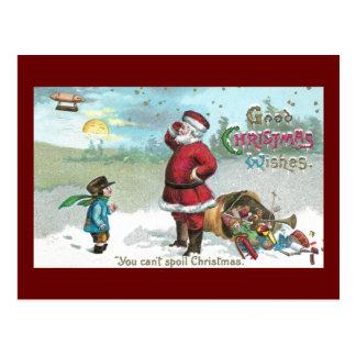 Santa trenzó en la nieve tarjeta postal
