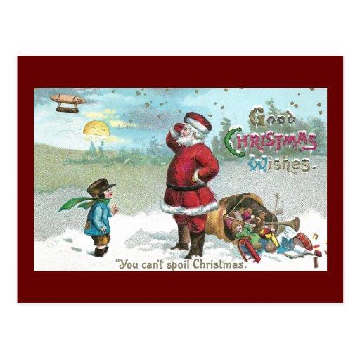 Santa trenzó en la nieve tarjetas postales