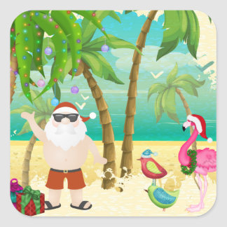 Santa, Tropical Birds, Palm Trees Beach Christmas Square Sticker