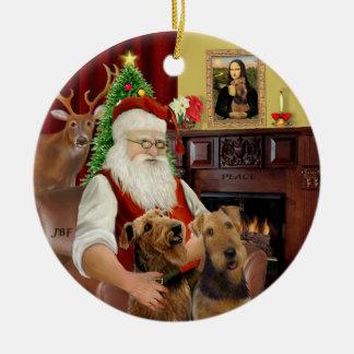 Santa-Two Airedales Ceramic Ornament