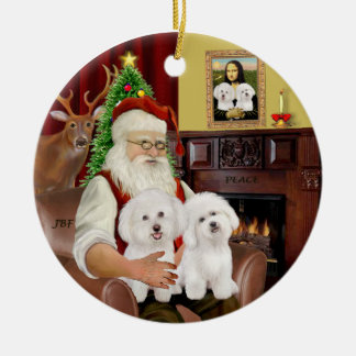 Santa - Two Bichon Frise Ceramic Ornament