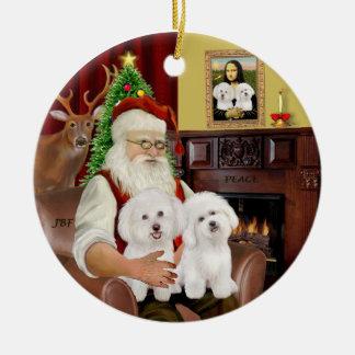 Santa - Two Bichon Frise Christmas Tree Ornaments