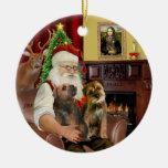 Santa - Two Border Terriers Christmas Tree Ornaments