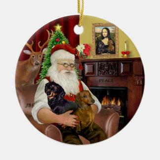 Santa-Two Dachshunds (BT+red) Ceramic Ornament