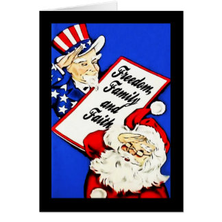 Santa, Uncle Sam Salute Patriotic Christmas Cards