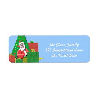 Santa Under Tree Christmas Address Labels