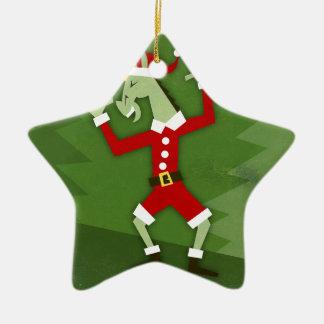 Santa Unicorn In the House Ceramic Ornament