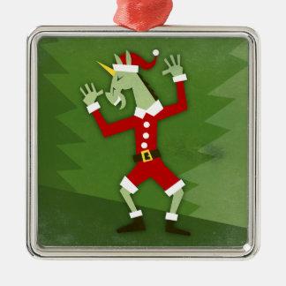Santa Unicorn In the House Metal Ornament