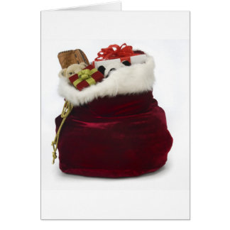 Santa unloading presents by the tree card