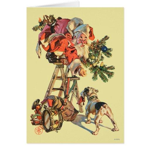 Santa Up a Ladder Greeting Cards