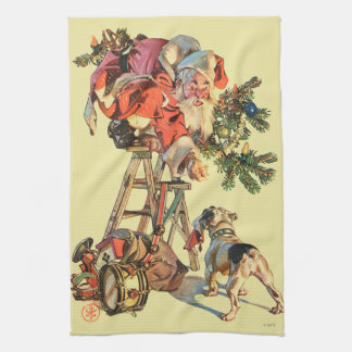 Santa Up a Ladder Kitchen Towel