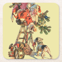 Santa Up a Ladder Square Paper Coaster