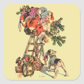 Santa Up a Ladder Square Sticker