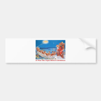 Santa Up On The Roof On The Night Before Christmas Bumper Sticker