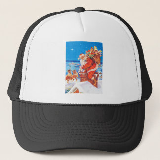 Santa Up On The Rooftop Trucker Hat