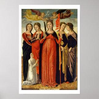 Santa Ursula y cuatro santos (tempera en el panel) Posters