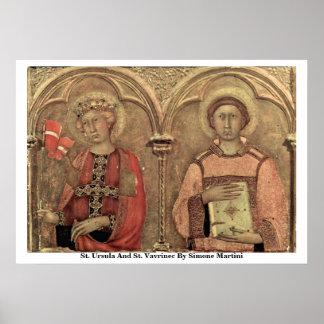 Santa Ursula y St. Vavrinec de Simone Martini Posters