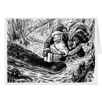 Santa va para un paseo del pantano tarjeta de felicitación