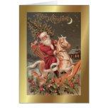 Santa Vintage Art Christmas Greetings Card