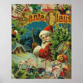 Santa Vintage Art Print Collage Holiday