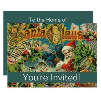 Santa Vintage Art Print Holiday Party Invitation
