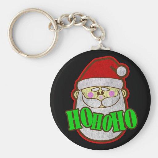 Santa Vintage Basic Round Button Keychain