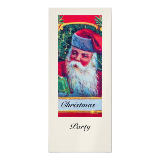 SANTA VINTAGE CHRISTMAS PARTY 1 champagne 4x9.25 Paper Invitation Card