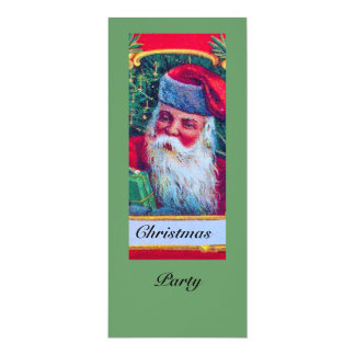 SANTA VINTAGE CHRISTMAS PARTY 1 4X9.25 PAPER INVITATION CARD
