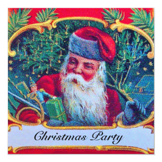 SANTA VINTAGE CHRISTMAS PARTY CARD