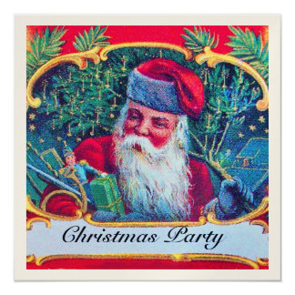 SANTA VINTAGE CHRISTMAS PARTY champagne Card