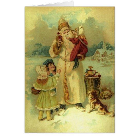 Santa  Vintage Victorian Christmas and Kids 1897 Card