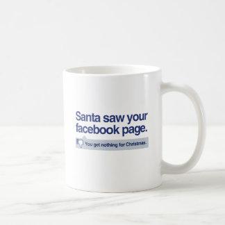Santa vio su página taza básica blanca