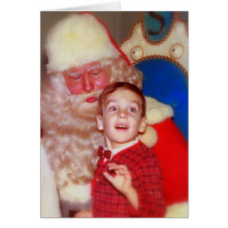 Santa Visit - Boy on Santa's Lap Greeting Card