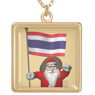 Santa Visiting Thailand Gold Plated Necklace
