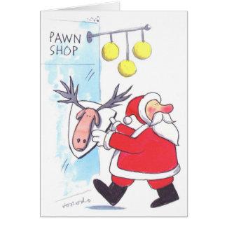 Santa Visits a Pawn Shop Greeting Card
