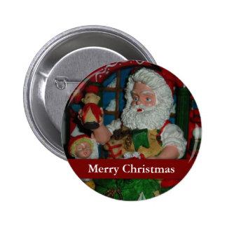 Santa Visits Pinback Button