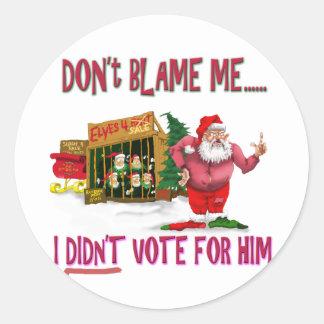 Santa w/Elves for Rent/Political Joke Classic Round Sticker